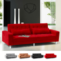 Sofa Bed 2/3 Seats with Armrests and Cushions in Microfiber QUARZO
