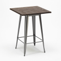 WELDED High Table for Stools Tolix Industrial Style Wood Steel 60x60 - immagine