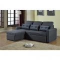 Corner Sofa Bed in Microfiber 3 Seats with Cushions SMERALDO - immagine