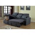 Corner Sofa Bed in Microfiber 3 Seats with Cushions SMERALDO - foto
